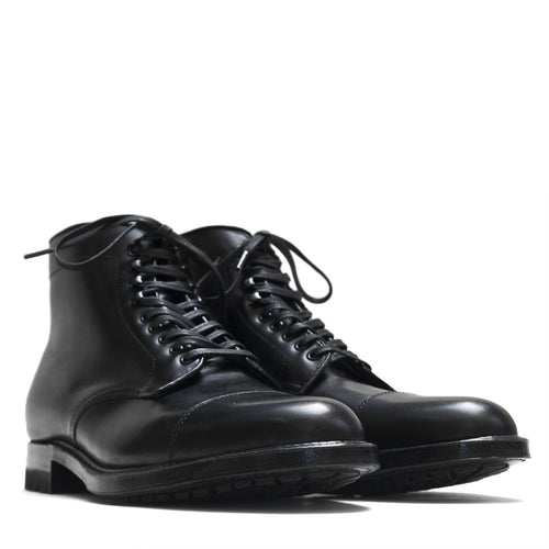 Alden Black Trapper Straight Tip Boot With Commando Sole at shoplostfound in Toronto, product shot
