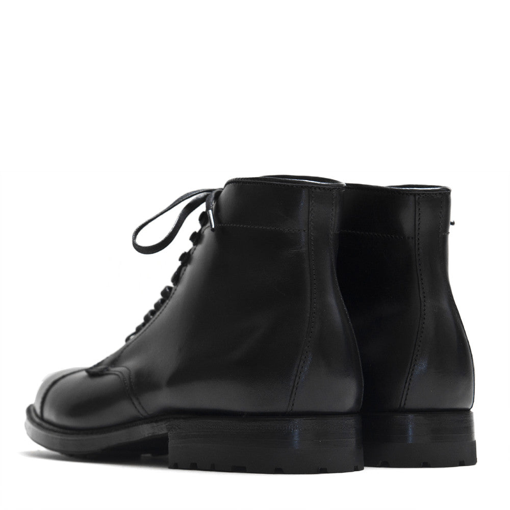 Alden Black Trapper Straight Tip Boot With Commando Sole at shoplostfound in Toronto, back