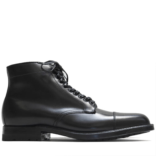 Alden Black Trapper Straight Tip Boot With Commando Sole at shoplostfound in Toronto, profile