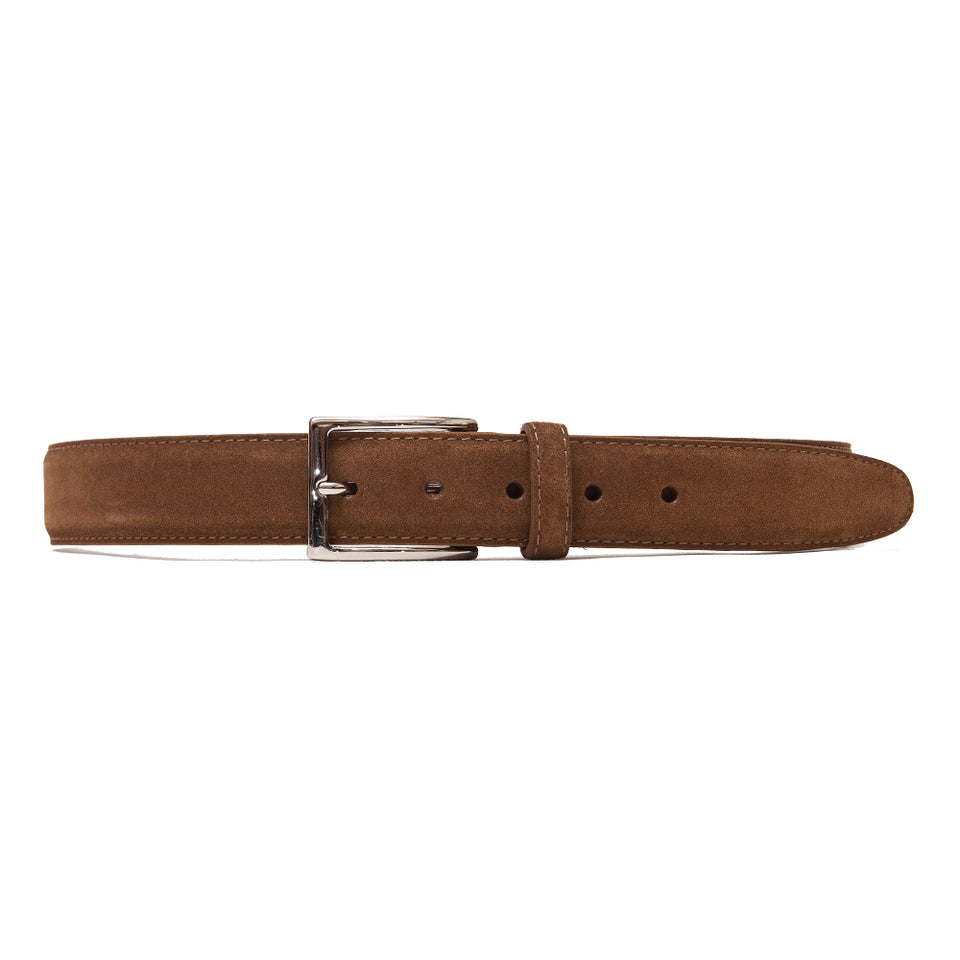 Alden Snuff Suede Belt Brown at shoplostfound, front