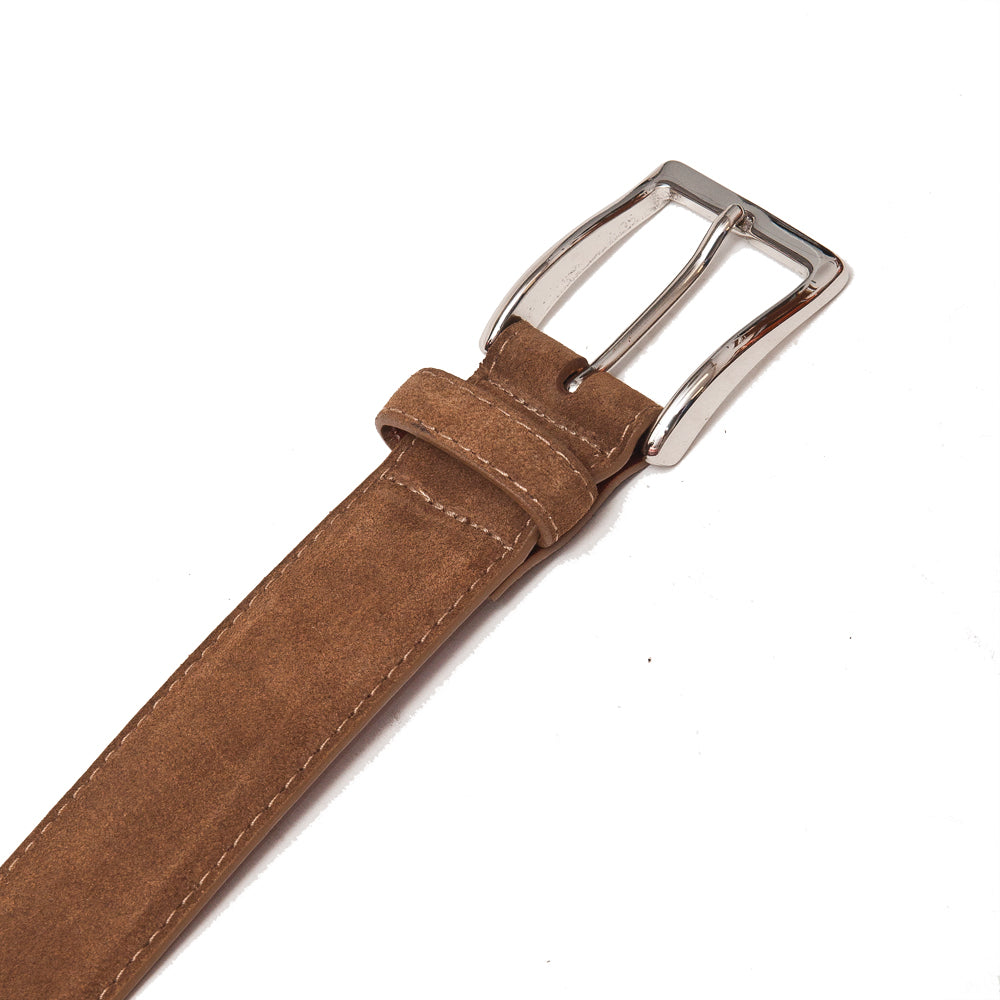 Alden Snuff Suede Belt Brown at shoplostfound, detail