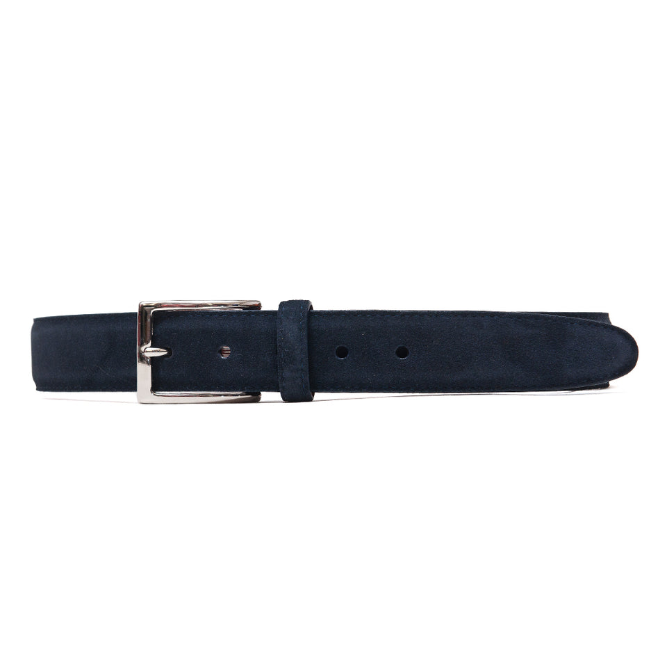 Alden Snuff Suede Belt Navy at shoplostfound, front
