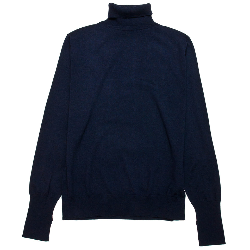 Andersen-Andersen Light Turtleneck Navy at shoplostfound, front