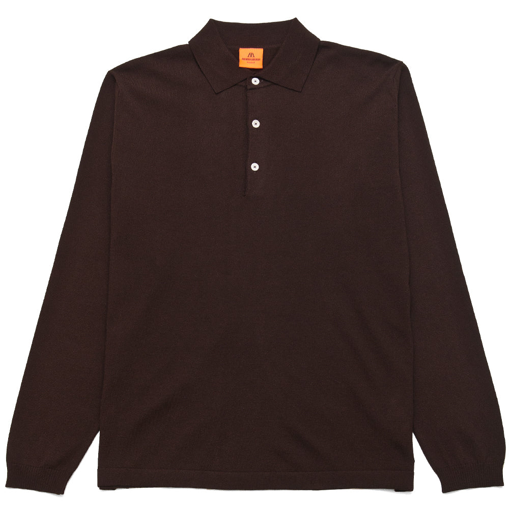 Andersen-Andersen Long Sleeve Polo Dark Brown at shoplostfound, front