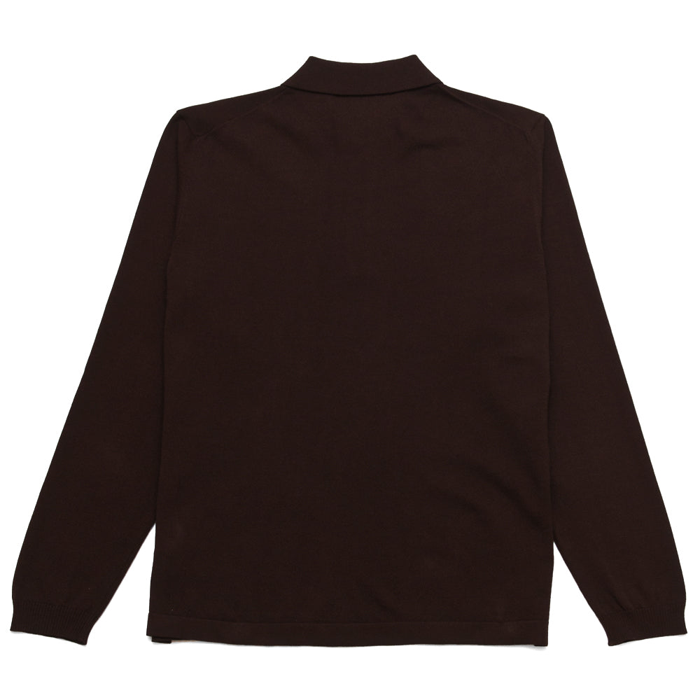 Andersen-Andersen Long Sleeve Polo Dark Brown at shoplostfound, back