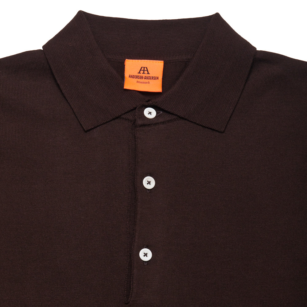 Andersen-Andersen Long Sleeve Polo Dark Brown at shoplostfound, neck