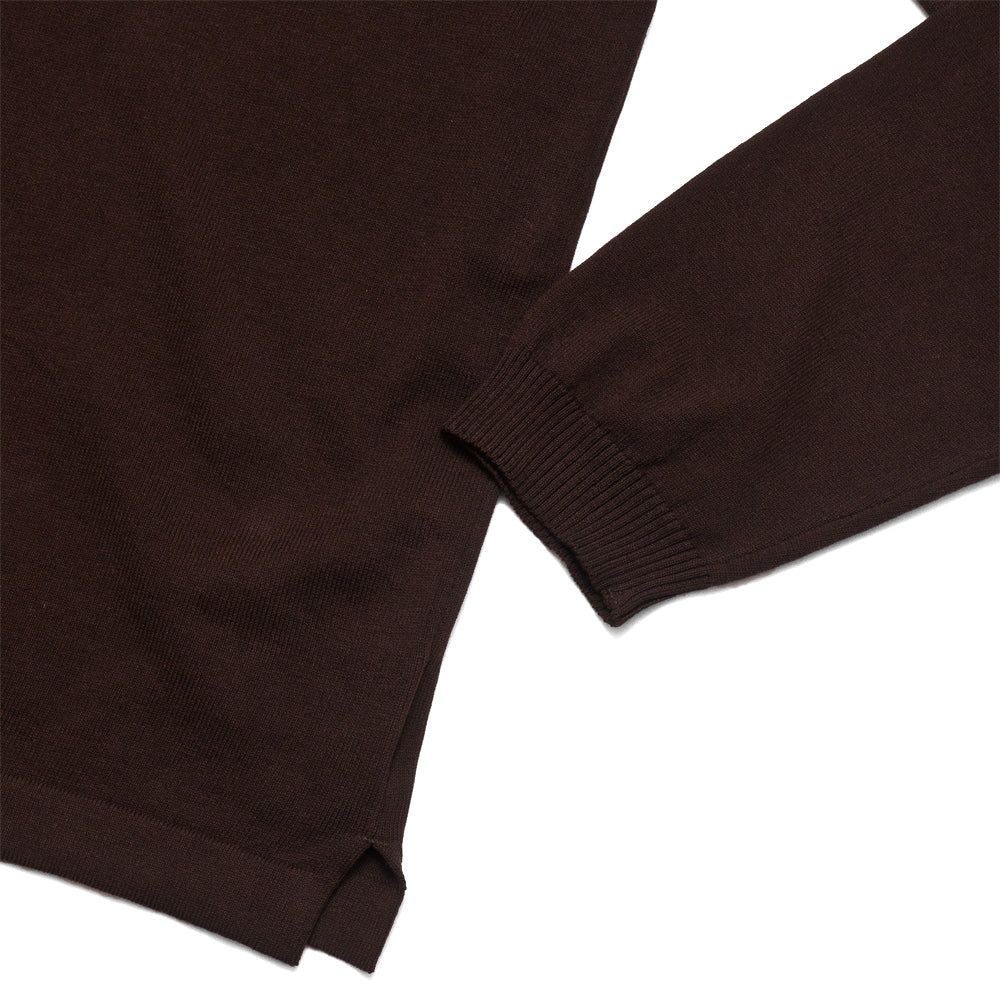 Andersen-Andersen Long Sleeve Polo Dark Brown at shoplostfound, cuff