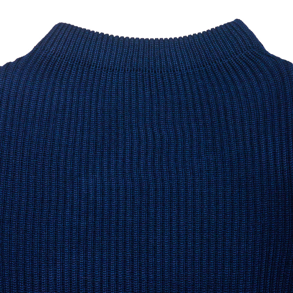 Andersen-Andersen Navy Crewneck Royal Blue at shoplostfound, neck