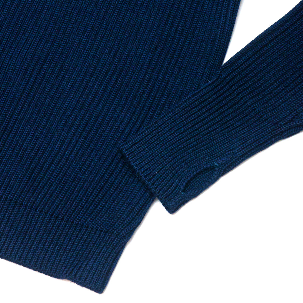 Andersen-Andersen Navy Crewneck Royal Blue at shoplostfound, cuff