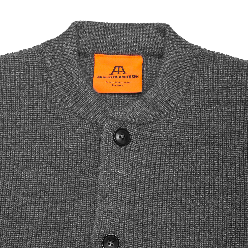 Andersen-Andersen Skipper Jacket Grey at shoplostfound, neck