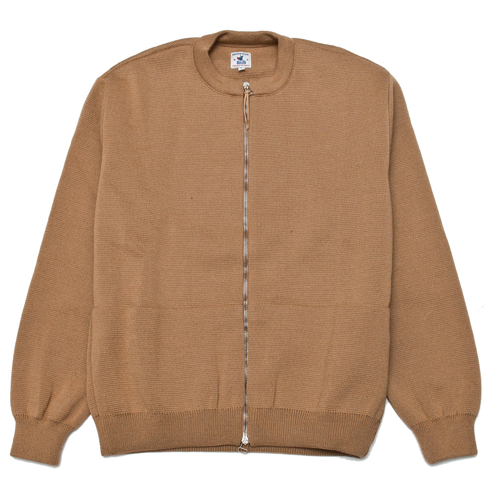 Arpenteur Deco Milano Wool Zippered Cardigan Camel at shoplostfound, front
