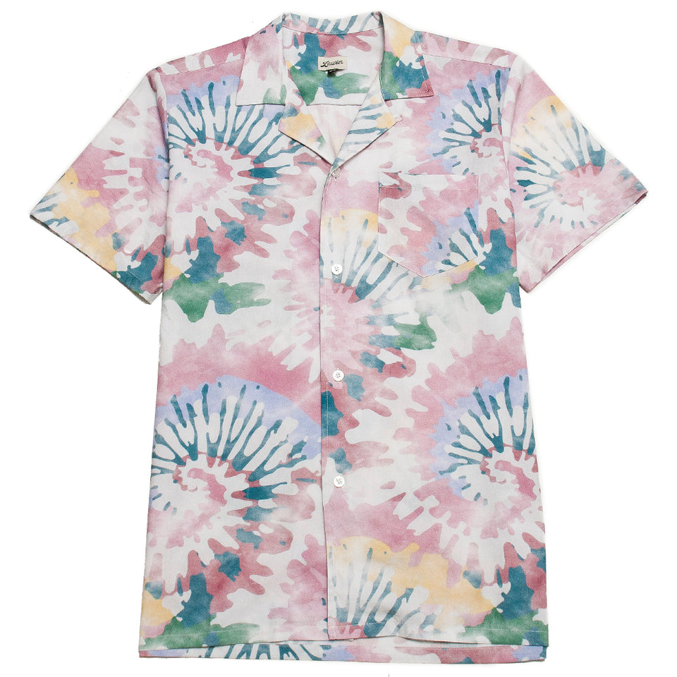 Bather Acid Tie Dye Camp Shirt at shoplostfound, front