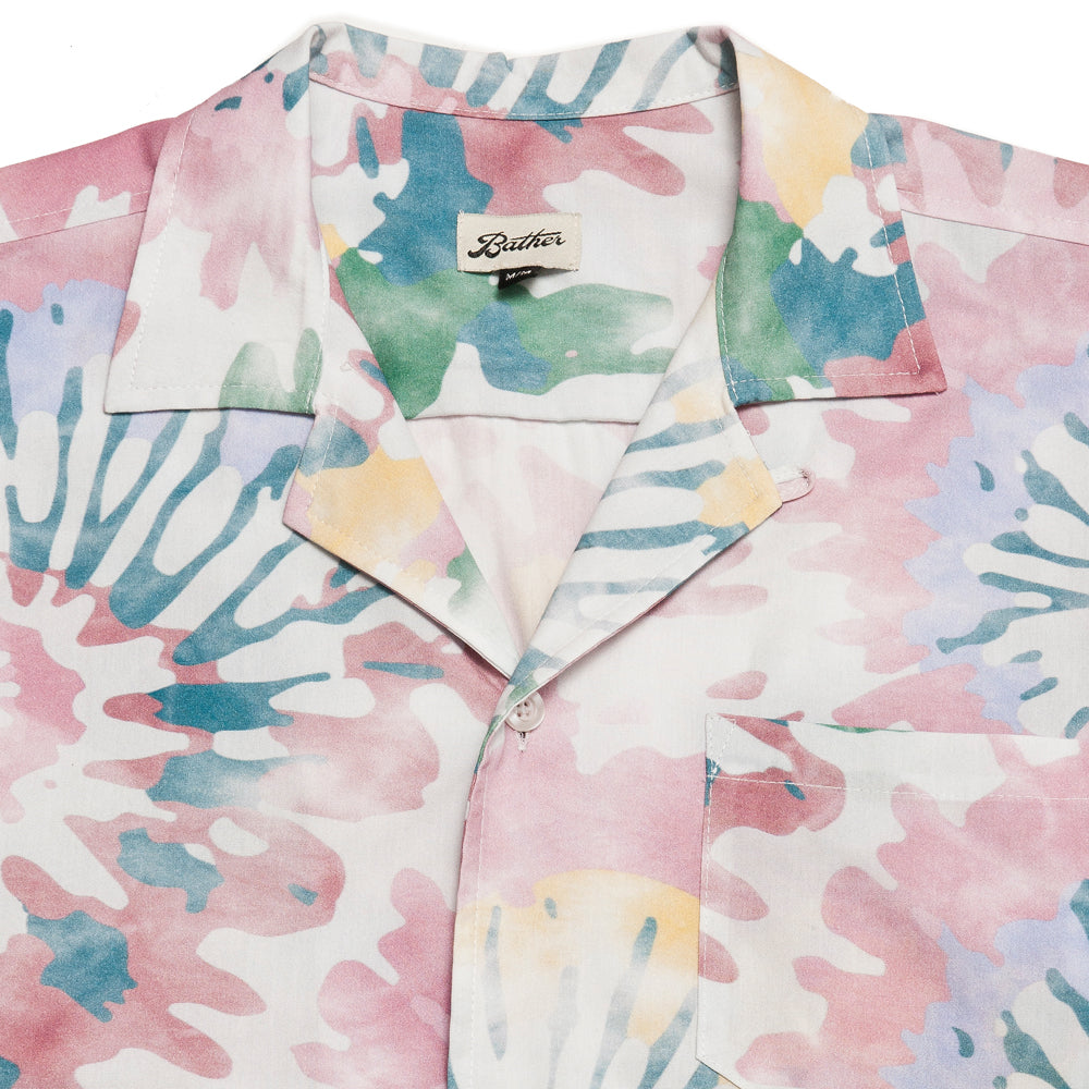 Bather Acid Tie Dye Camp Shirt at shoplostfound, neck