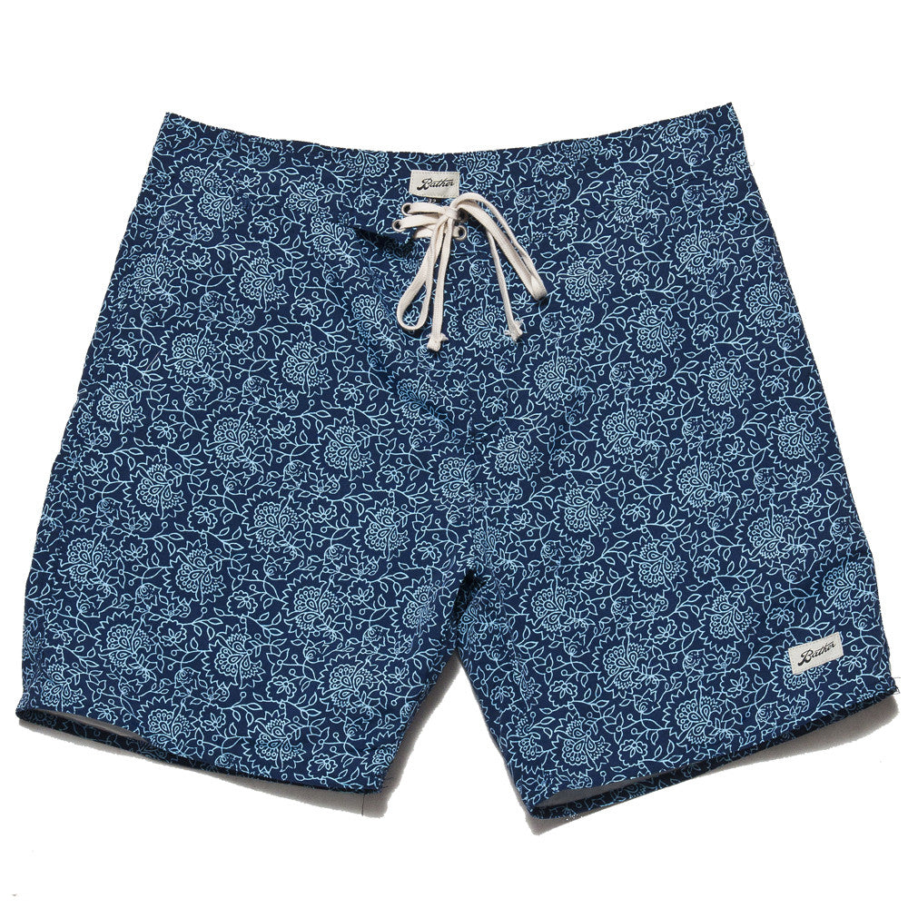 Bather Blue Floral Surf Trunk at shoplostfound, front