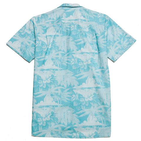 Bather Teal Aloha Camp Shirt at shoplostfound, front