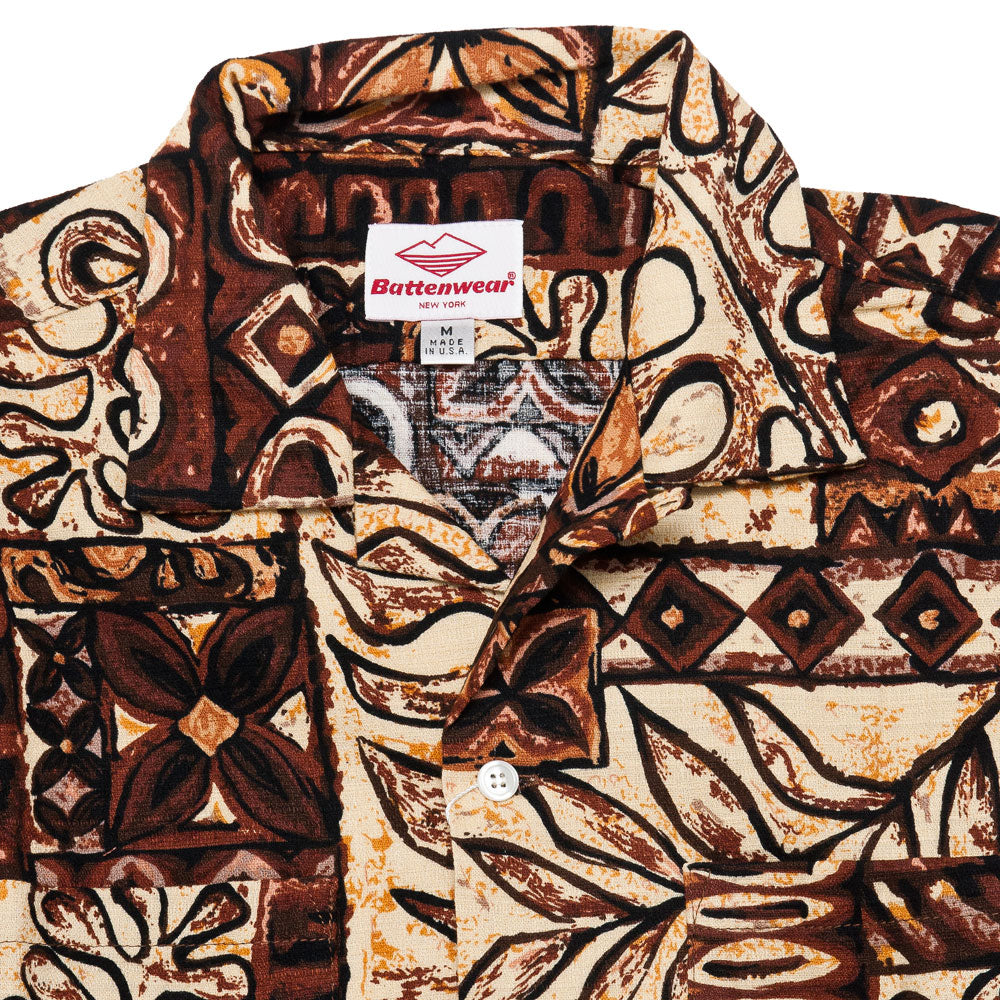 Battenwear Five Pocket Island Shirt Brown Print shoplostfound neck