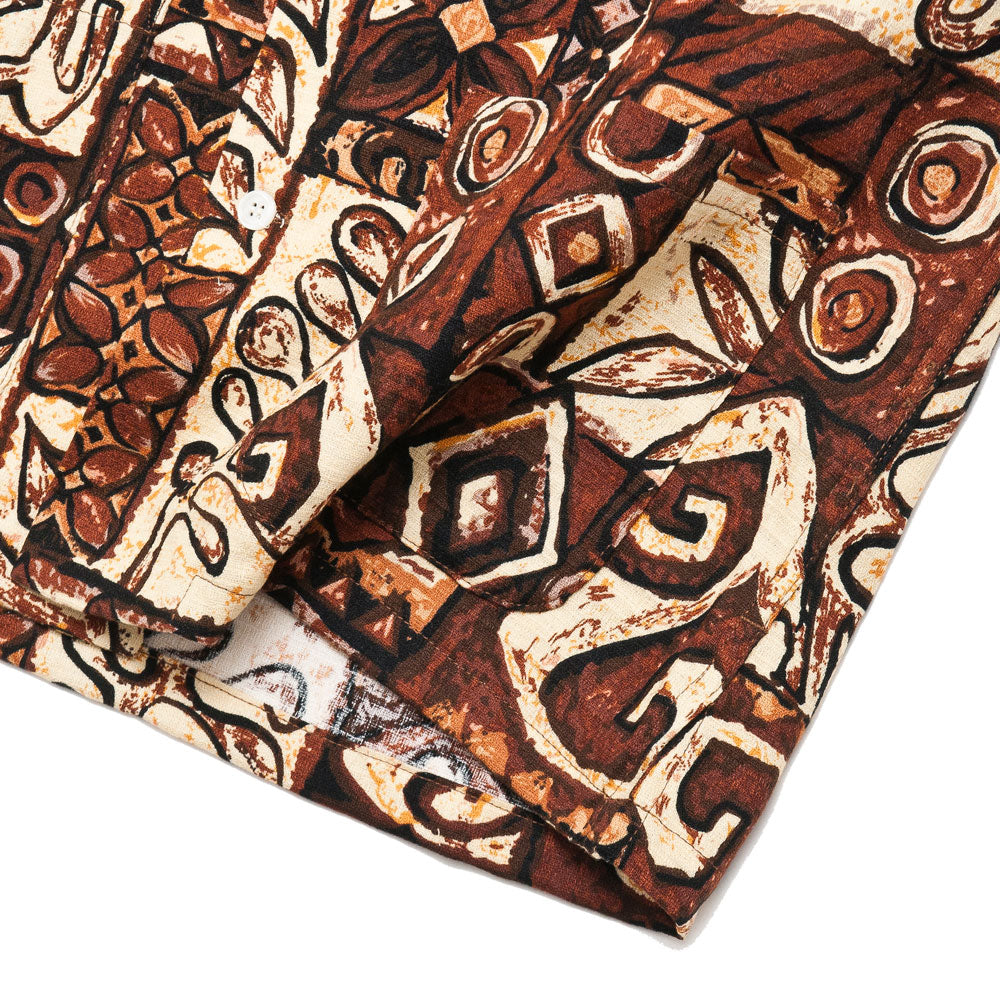Battenwear Five Pocket Island Shirt Brown Print shoplostfound detail