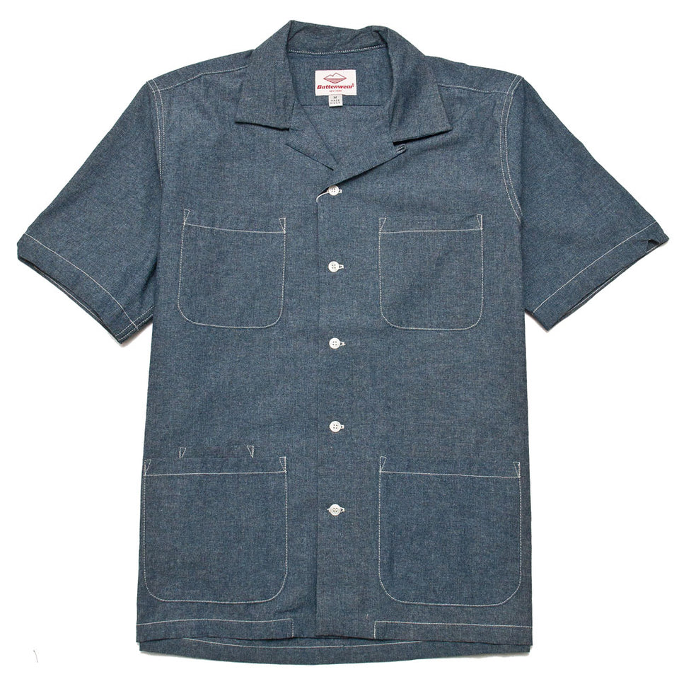 Battenwear Five Pocket Island Shirt Indigo shoplostfound front