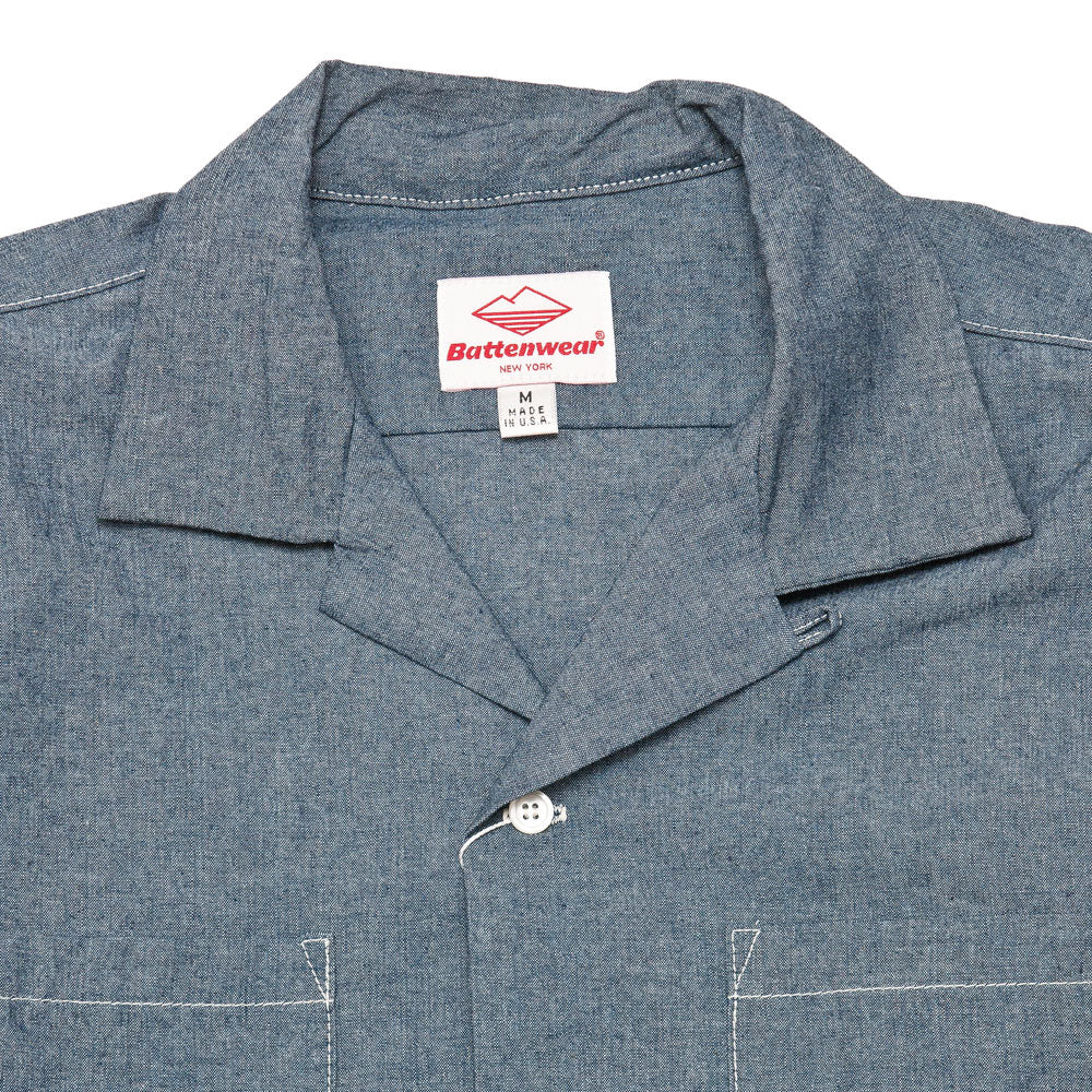 Battenwear Five Pocket Island Shirt Indigo shoplostfound neck