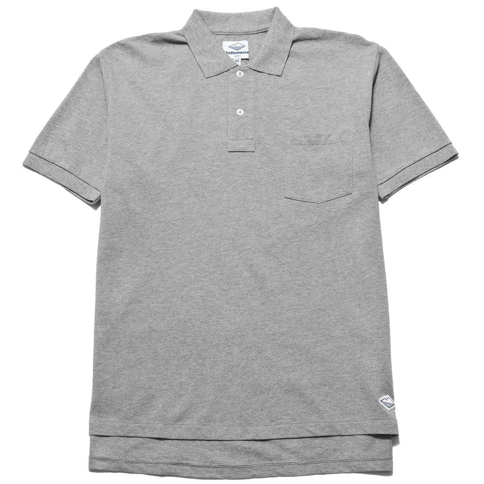 Battenwear Polo Shirt Heather Grey at shoplostfound, front