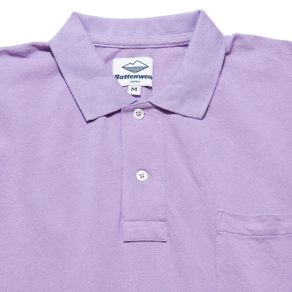 Battenwear Polo Shirt Lavender at shoplostfound, neck