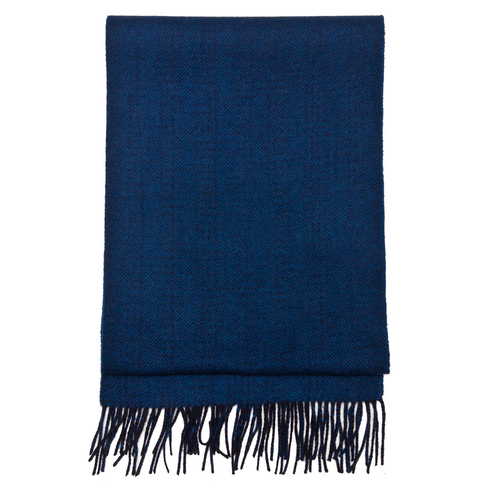 Beams Plus Cashmere Reversible Scarf Navy at shoplostfound, front
