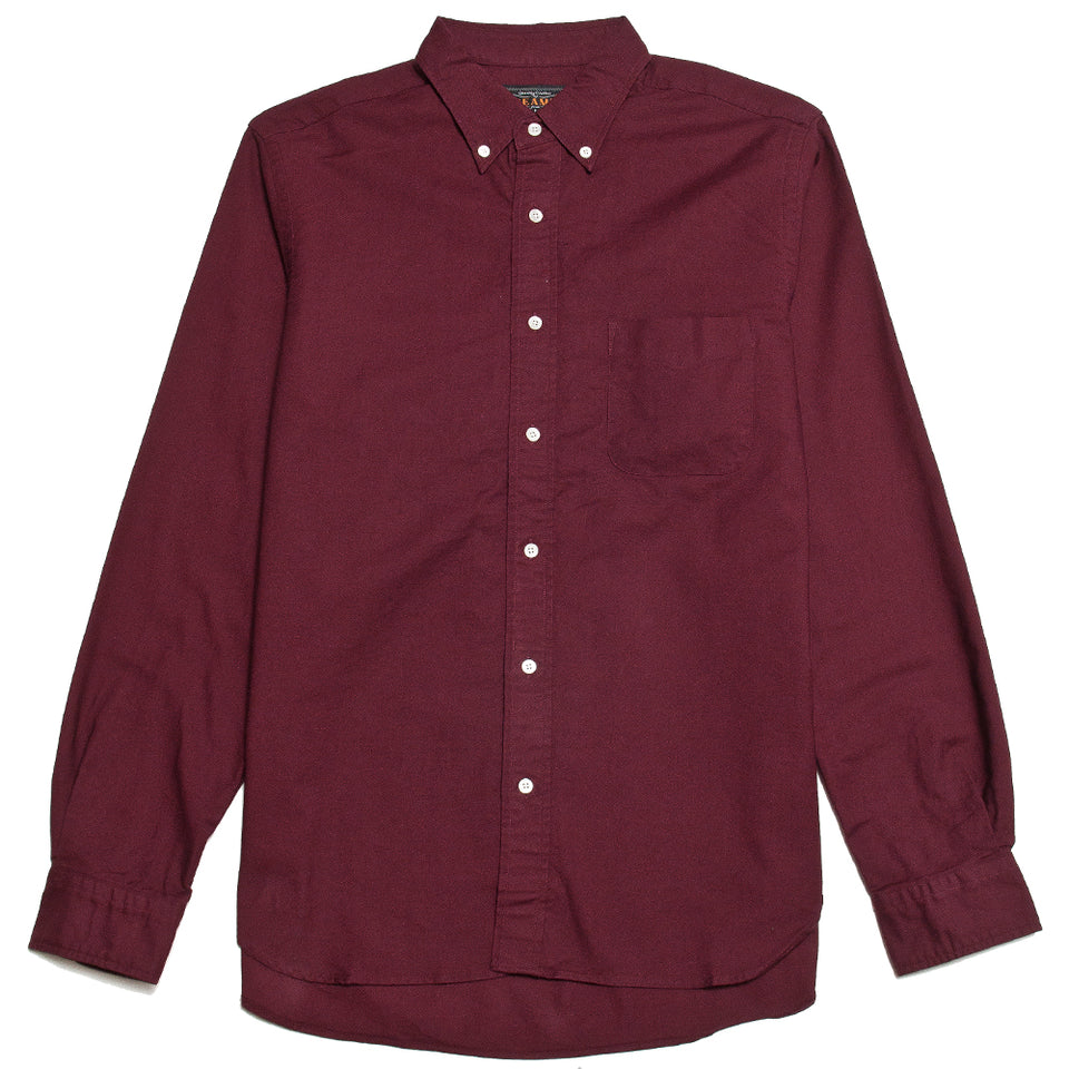 Beams Plus Colour Oxford Button Down Shirt Burgundy shoplostfound, front