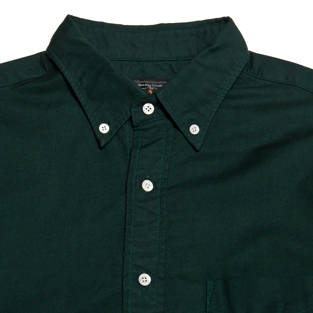 Beams Plus Colour Oxford Button Down Shirt Green shoplostfound, neck