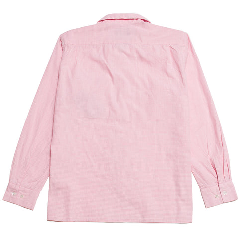Beams Plus Hakemek Check Open Collar Shirt Pink shoplostfound, front