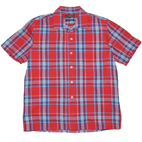 beams-plus-short-sleeve-open-collar-check-shirt-red-front