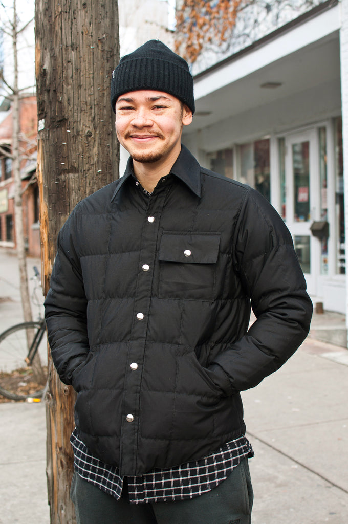 Crescent Down Works 60/40 Black Down Shirt Jacket w/ Pockets at shoplostfound, Moya