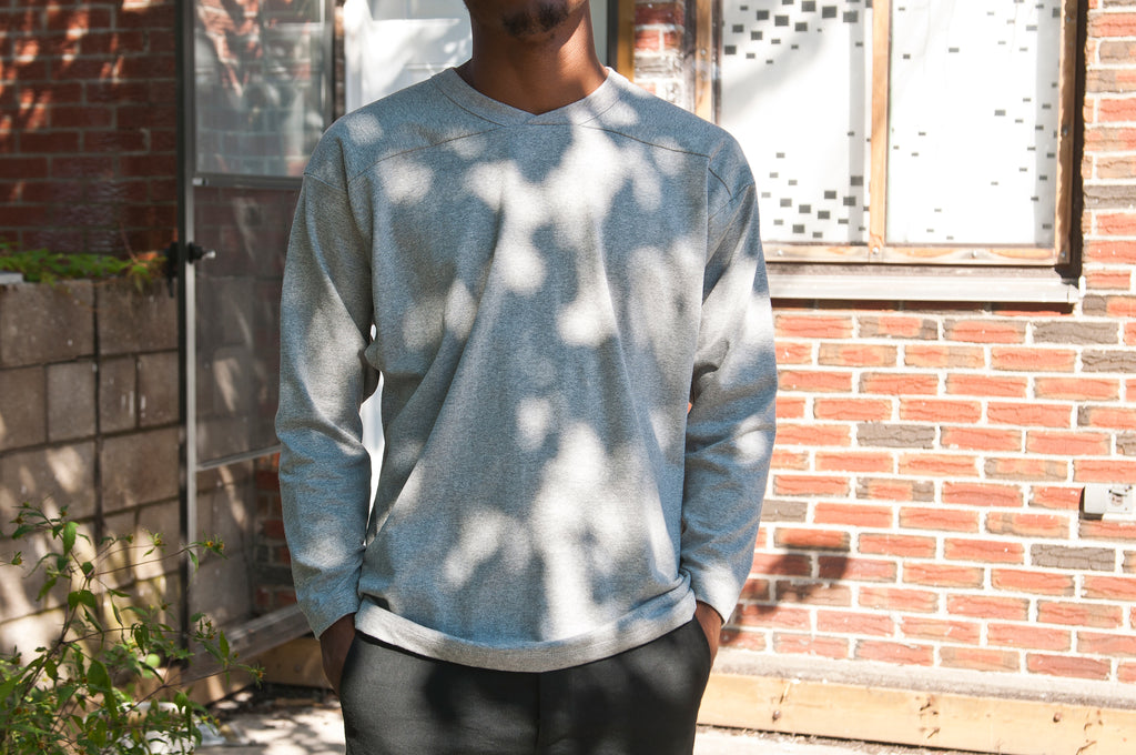 PAA Long Sleeve Football Tee Heather Grey at shoplostfound, fit