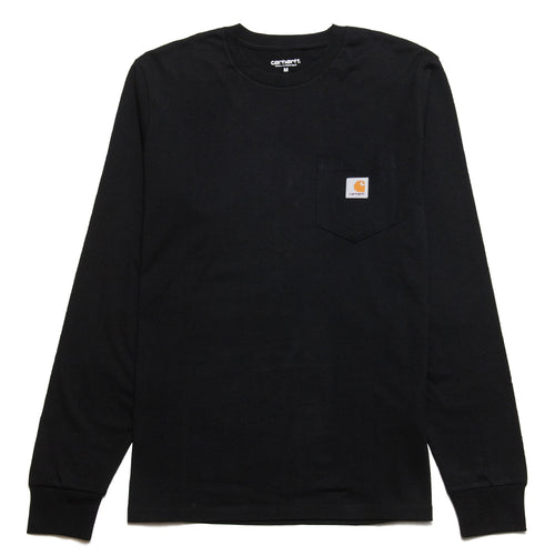 Carhartt W.I.P. Long Sleeve Pocket T-Shirt Black at shoplostfound, front