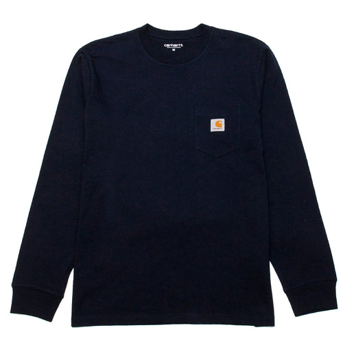 Carhartt W.I.P. Long Sleeve Pocket T-Shirt Dark Navy at shoplostfound, front