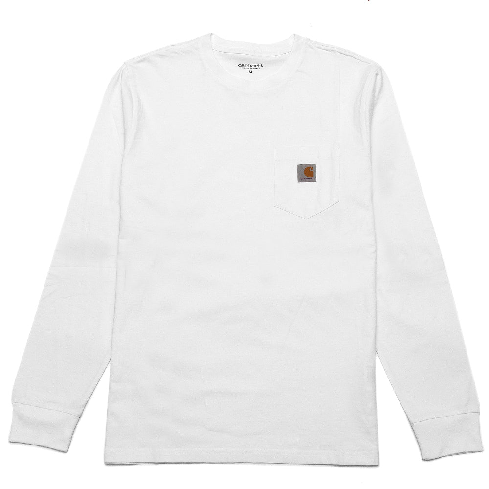 Carhartt W.I.P. Long Sleeve Pocket T-Shirt White at shoplostfound, front