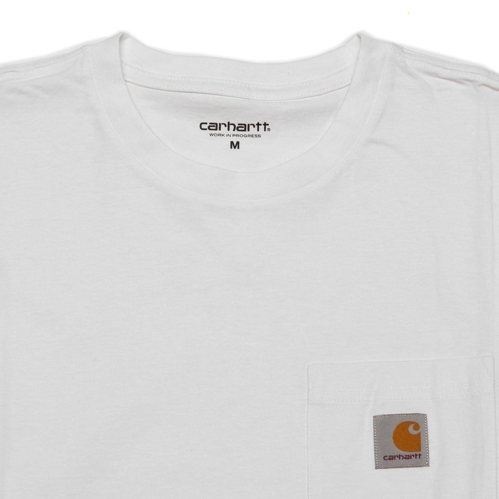 Carhartt W.I.P. Long Sleeve Pocket T-Shirt White at shoplostfound, neck