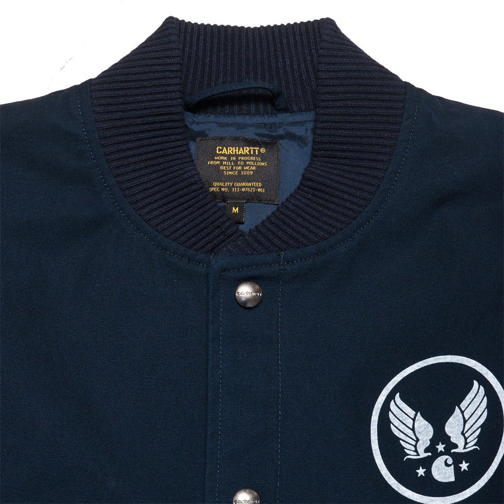 Carhartt W.I.P. Loop Emblem Jacket Navy at shoplostfound, neck
