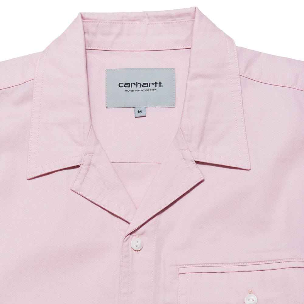 Carhartt W.I.P. S/S Clover Shirt Sandy Rose at shoplostfound, neck