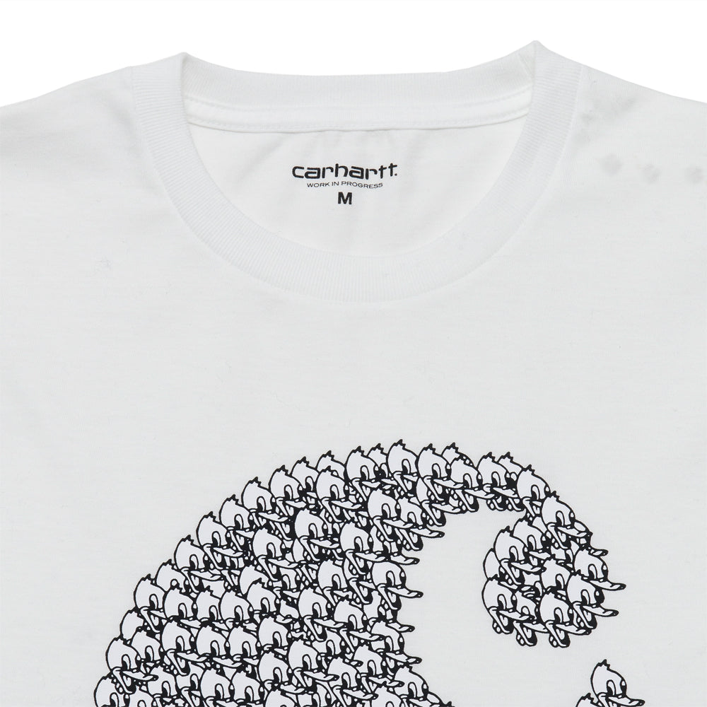 Carhartt W.I.P. S/S Duck Swarm T-Shirt White at shoplostfound, neck