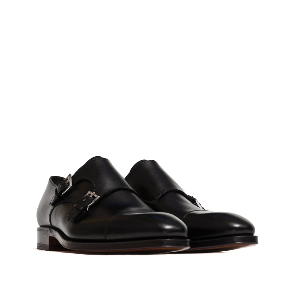 Carmina Double Monk Straps 80544 Rain Black Boxcalf
