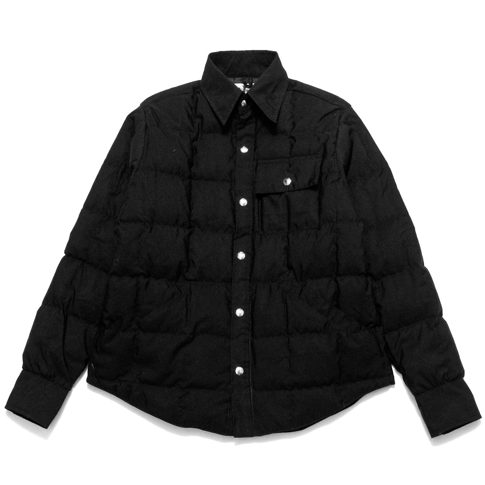 Crescent Down Works 60/40 Black Down Shirt Jacket w/ Pockets at shoplostfound, front