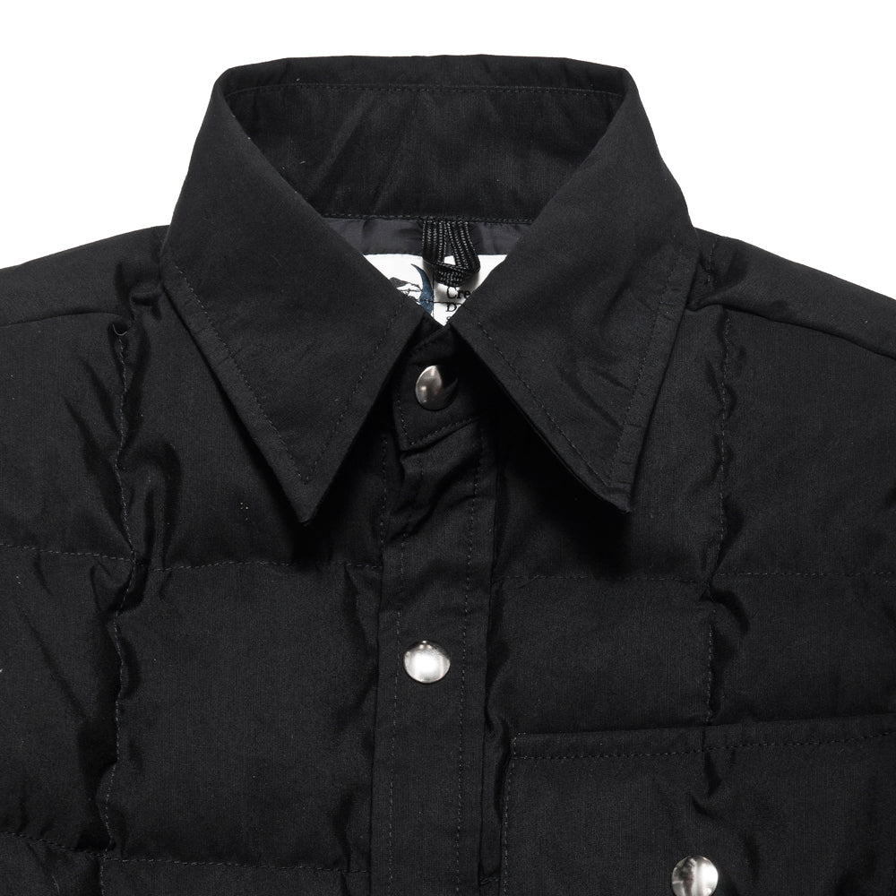 Crescent Down Works 60/40 Black Down Shirt Jacket w/ Pockets at shoplostfound, neck