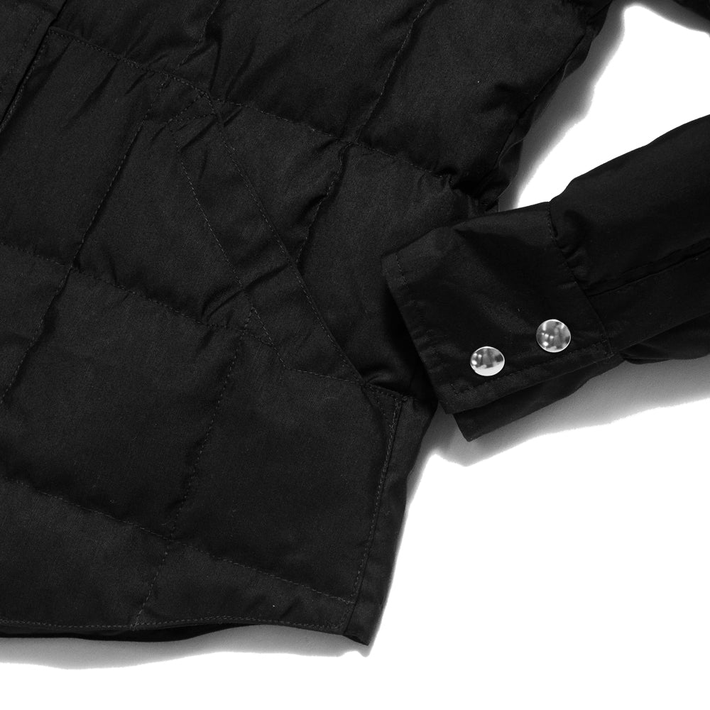 Crescent Down Works 60/40 Black Down Shirt Jacket w/ Pockets at shoplostfound, cuff