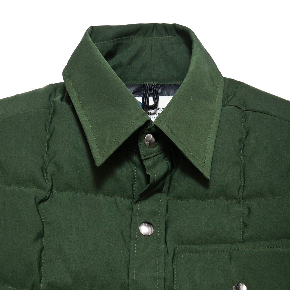 Crescent Down Works 60/40 Olive Down Shirt Jacket w/ Pockets at shoplostfound, neck