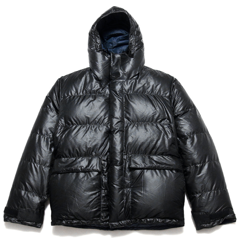Crescent Down Works Integral Hooded Parka in Black Ripstop at shoplostfound, front