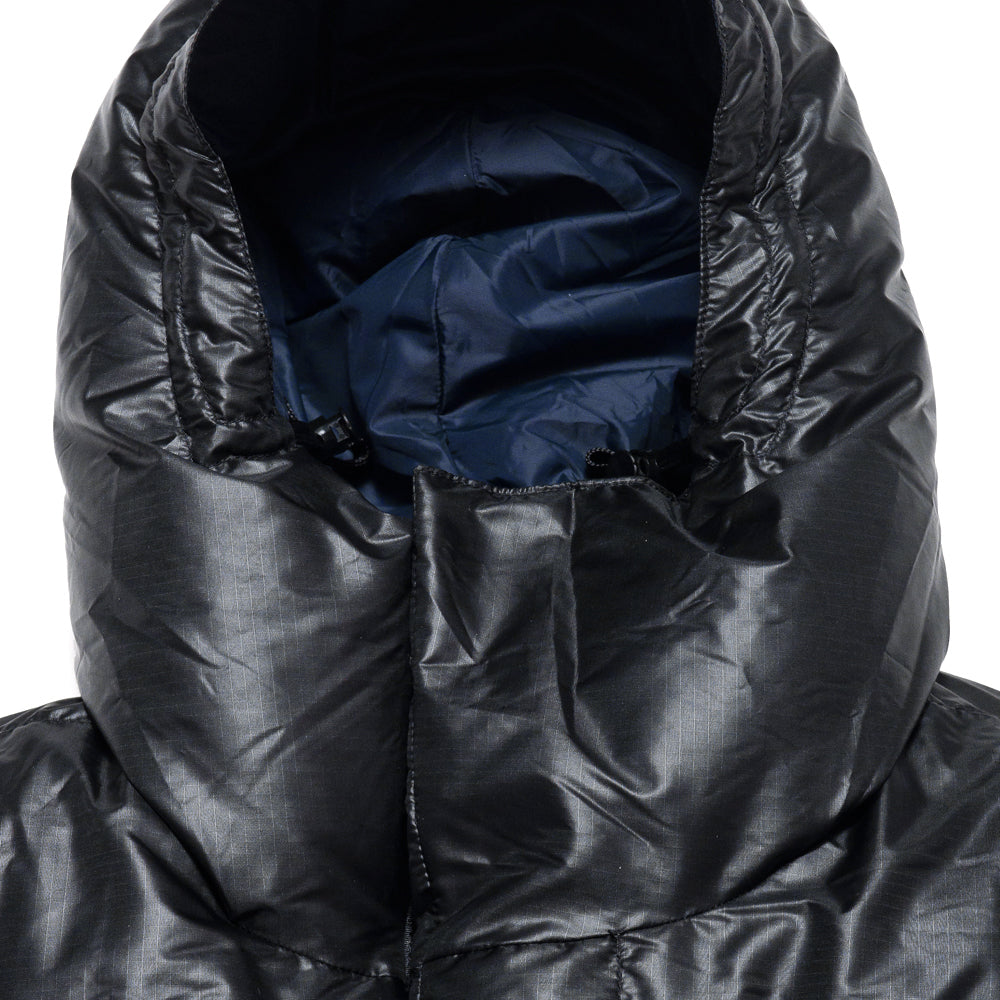 Crescent Down Works Integral Hooded Parka in Black Ripstop at shoplostfound, neck
