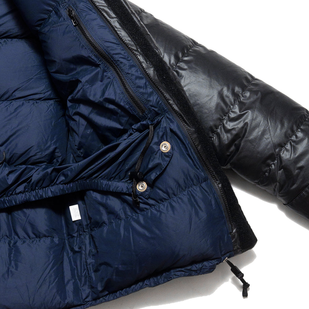 Crescent Down Works Integral Hooded Parka in Black Ripstop at shoplostfound, detail