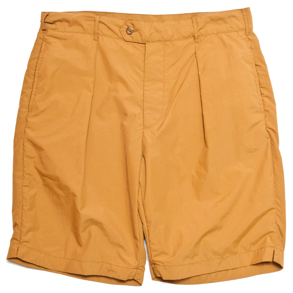 Engineered Garments Acrylic Coated Nylon Taffeta Sunset Short Mustard at shoplostfound, front