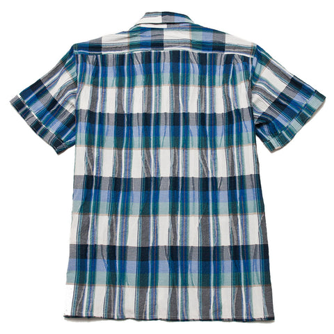 Engineered Garments Camp Shirt Navy Green Cotton Crepe Check shoplostfound, front