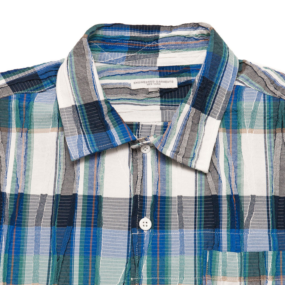 Engineered Garments Camp Shirt Navy Green Cotton Crepe Check shoplostfound, neck